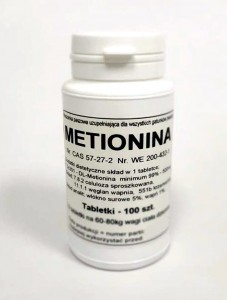 DL-Metionina 99% - tabletki 500 mg.