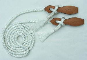 Reins, white with leather fittings